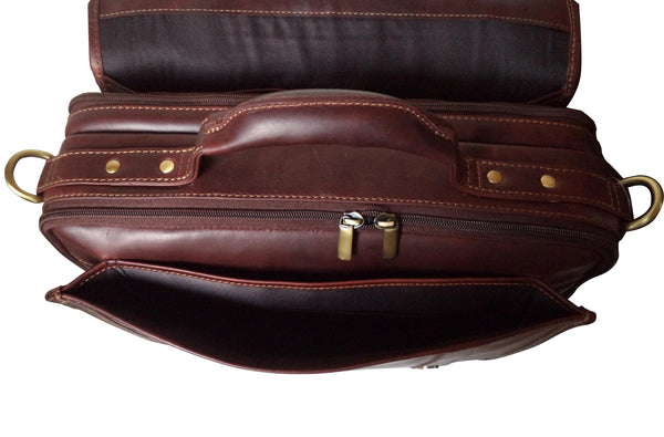 Manhattan Genuine Leather Men Brown Oily Portfolio Bag - WeMe