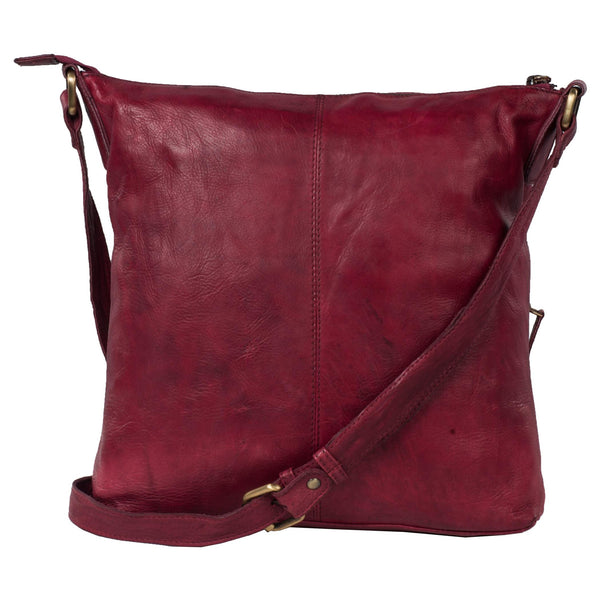 Chelsea Genuine Leather Women Red Crossbody Bag - WeMe