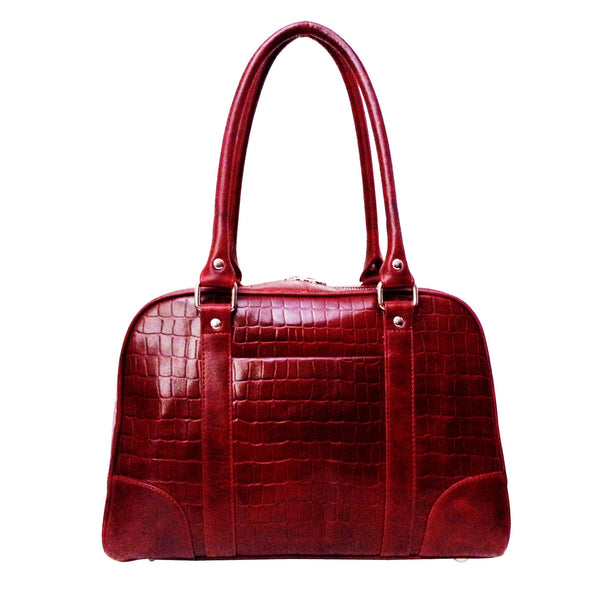Victoria Genuine Leather Croco Women Red Shoulder Bag - WeMe