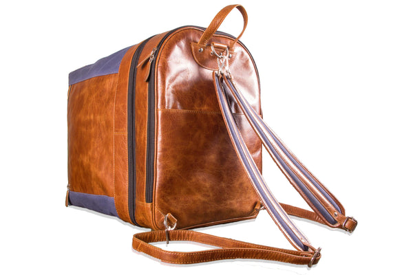 Zip Pack Go Genuine Leather Tan Duffle BackPack Combo Weekender Pro Bag - WeMe