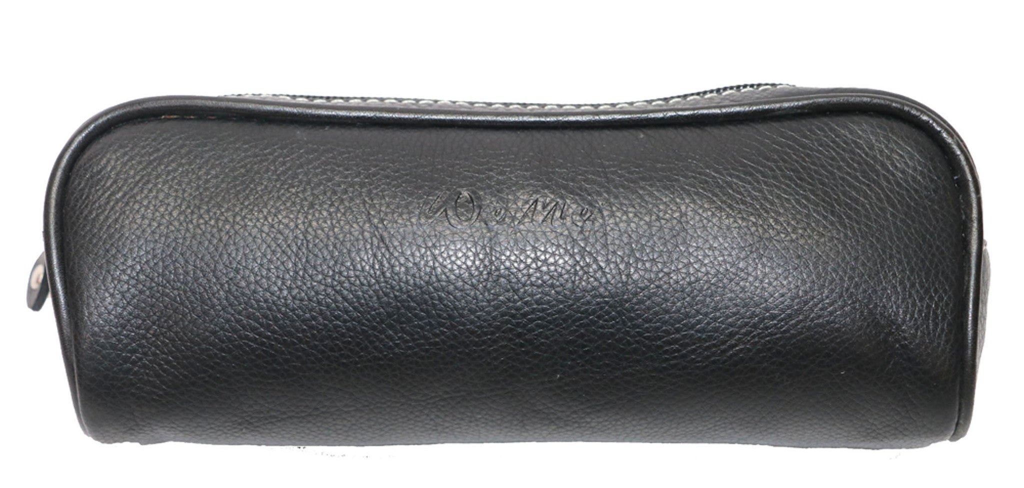 Classic Genuine Leather Unisex Black Pencil Case - WeMe