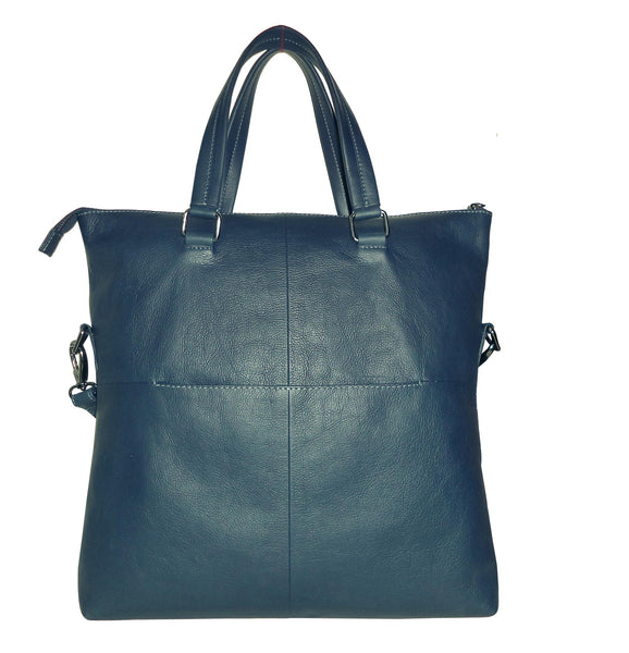 Victoria Genuine Leather Waxy Women Dark Blue Shoulder Bag - WeMe