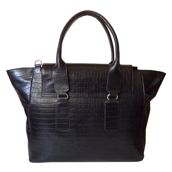 Victoria Genuine Leather Croco Women Black Shoulder Bag - WeMe