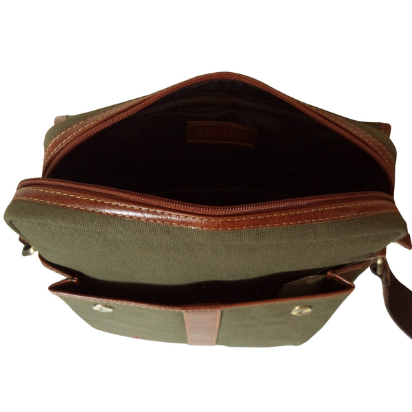 Awesome Latest Canvas & Leather Men Green iPad Messenger Bag - WeMe