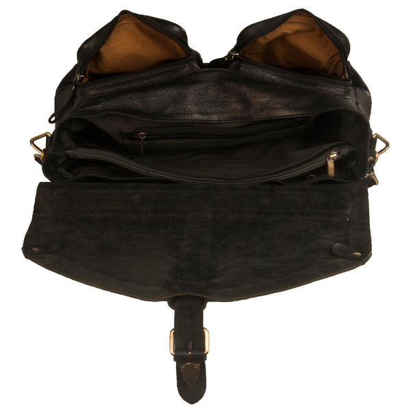 Manhattan Genuine Leather Men Black Waxy Portfolio Bag - WeMe
