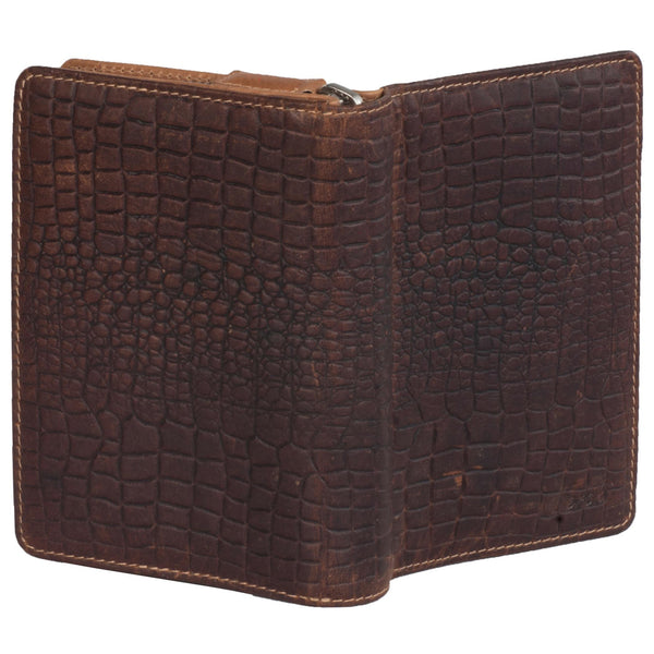 Paris Genuine Leather Women Tan Brown Croco Clutch Wallet - WeMe