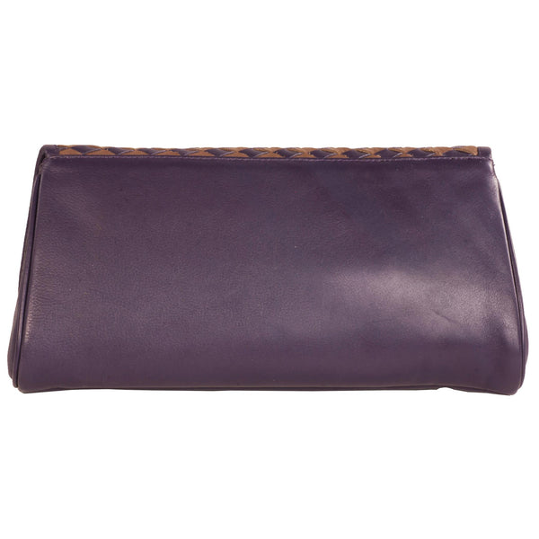 Maria Genuine Leather Women Purple Brown Clutch - WeMe