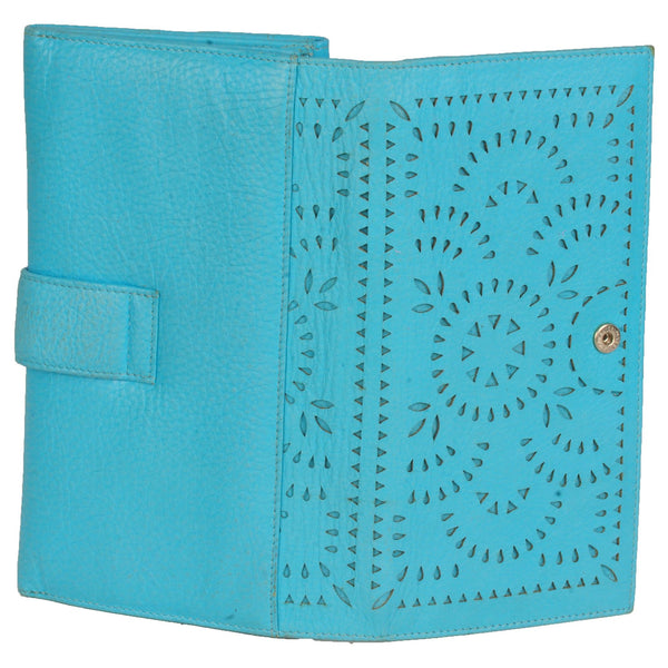 Paris Genuine Waxy Women Blue Laser Cut Clutch Wallet - WeMe