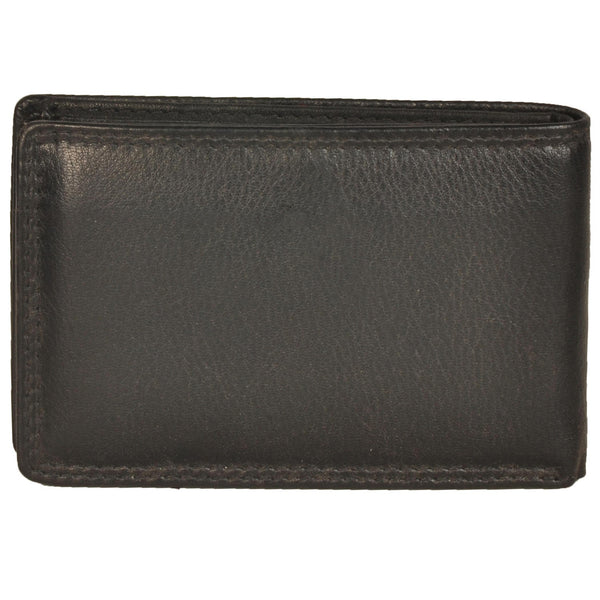 Zen Genuine Leather Unisex Black Small Wallet - WeMe