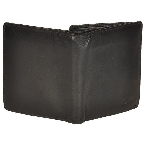 Boston Genuine Waxy Leather Men Black Billfold Wallet - WeMe