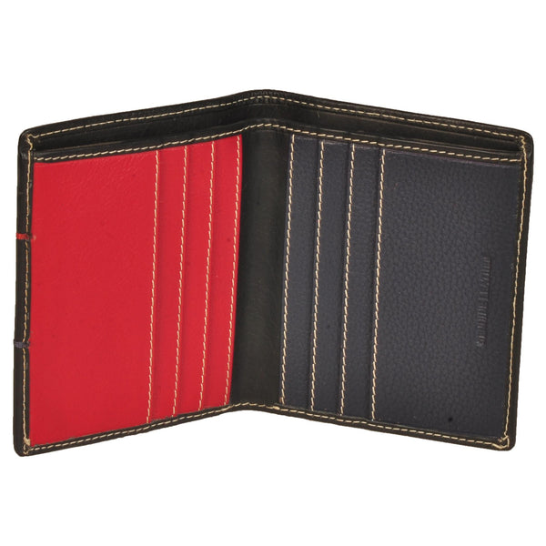 Boston Genuine Waxy Leather Men Black Red Blue Combination Wallet - WeMe