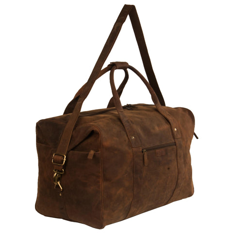 Yorker Genuine Leather Men Brown Oily Duffel Bag - WeMe