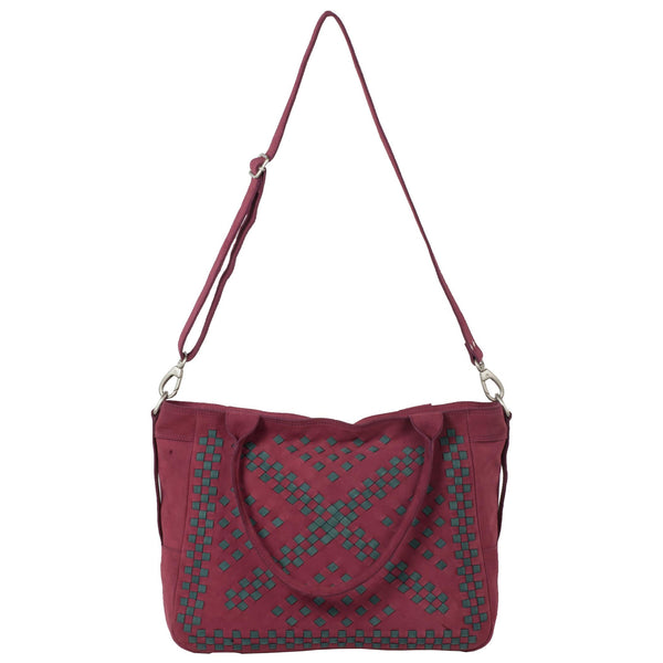 Victoria Genuine Leather Women Red Green Hand Woven Shoulder Bag - WeMe