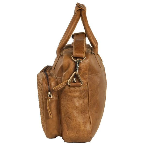 Manhattan Genuine Washed Leather Men Tan Portfolio Bag - WeMe