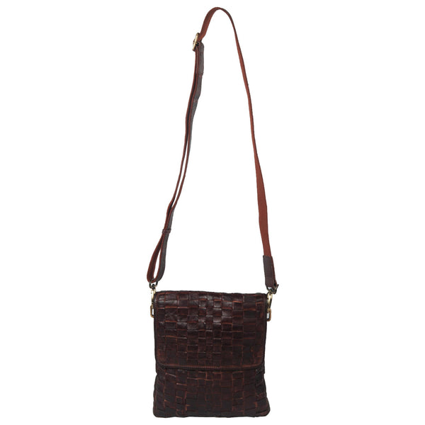 Chelsea Genuine Leather Unisex Brown Hand Woven Crossbody Bag - WeMe