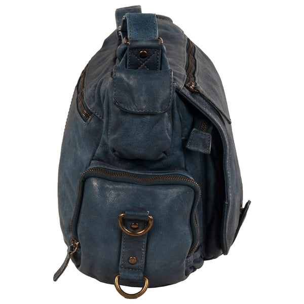 Bradley Genuine Leather Unisex Blue Messenger Bag - WeMe