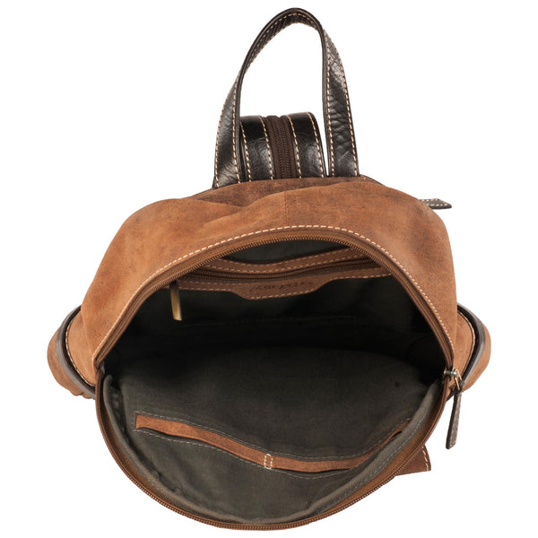 River Genuine Leather Unisex Brown Mini Backpack Bag - WeMe