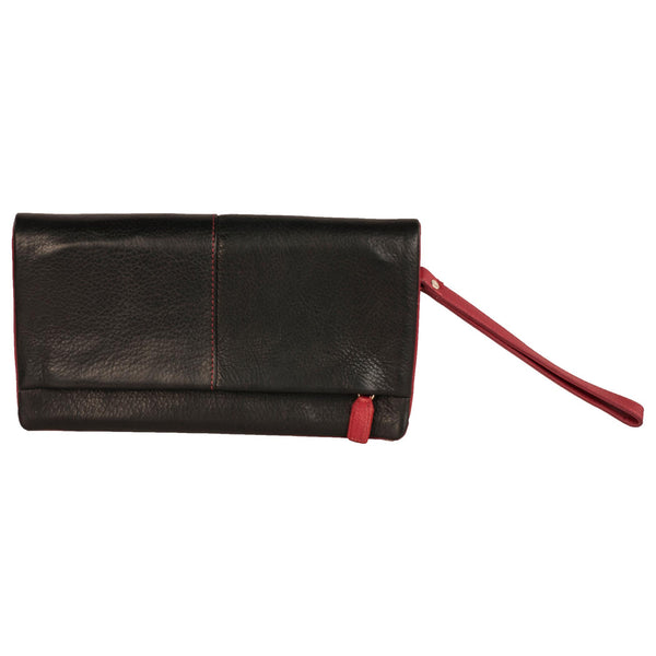Paris Genuine Leather Women Black Red Travel Wallet - WeMe