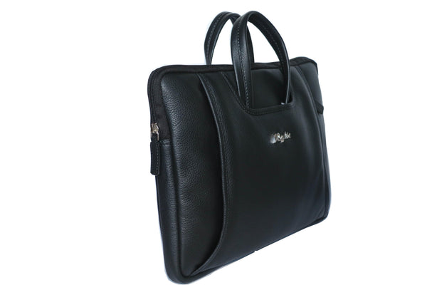 Macbook Manhattan Genuine Leather Men Black Laptop Bag - WeMe