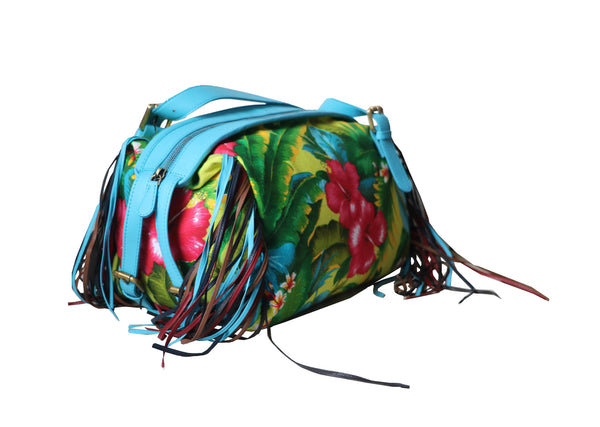 Hawaiian Trendy Leather & Canvas Women Blue Floral Handbag - WeMe