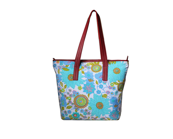 Hawaiian Trendy Leather & Canvas Women Blue Floral Shopping Bag - WeMe