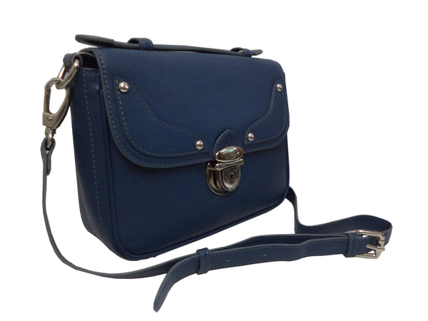 Chelsea Genuine Leather Women Blue Waxy Crossbody Bag - WeMe