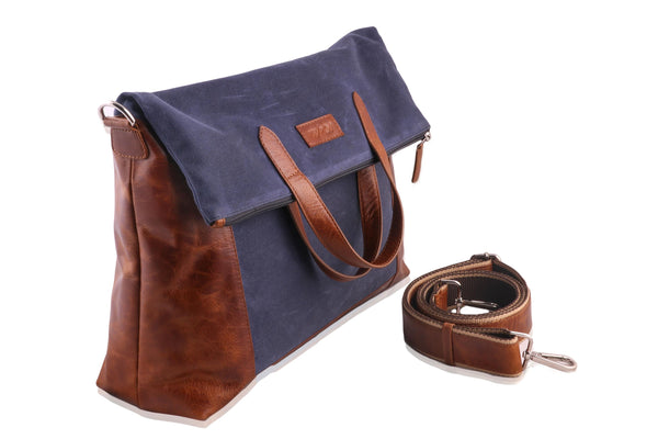 Genuine Leather with Canvas Men Brown Blue Convertible Tote cum Messenger Bag - WeMe