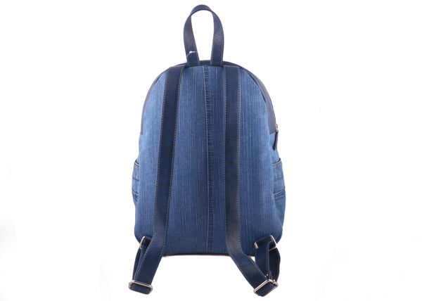 Organic & Recycled Blue Denim with Leather Unisex Backpack - WeMe