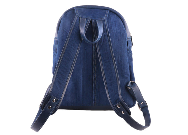 Blue Denim with Genuine Leather Unisex Backpack | Jeans Fashion Upcycle - WeMe