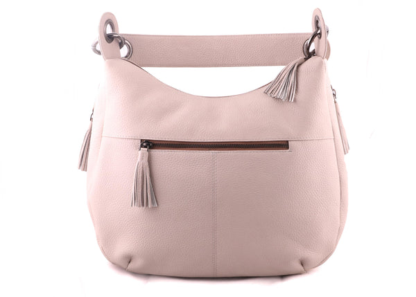 Genuine Pebble Grainy Nappa Leather Women OffWhite Shoulder Bag - WeMe