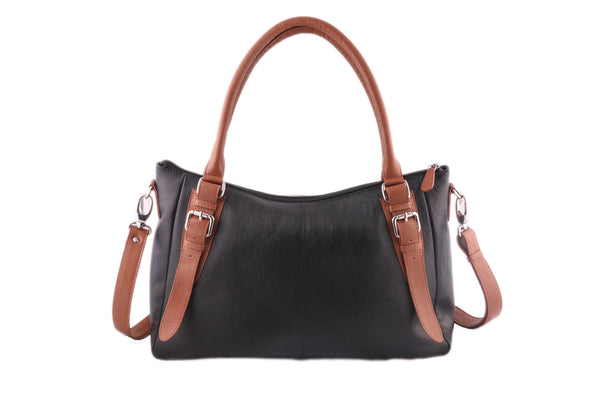 Exclusive Bi-colour Genuine Leather Women Black Tan Handbag - WeMe