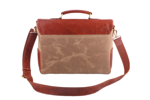 Leather with Canvas Men Khaki Tan Office Portfolio Bag - WeMe
