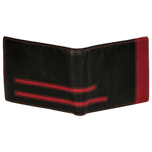 Boston Genuine Leather Men Red Black Billfold Wallet - WeMe