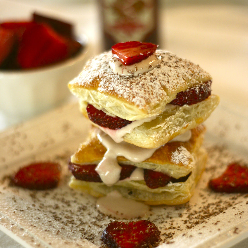 STRAWBERRY NAPOLEONS (Strawberry Champagne Finishing Sauce)