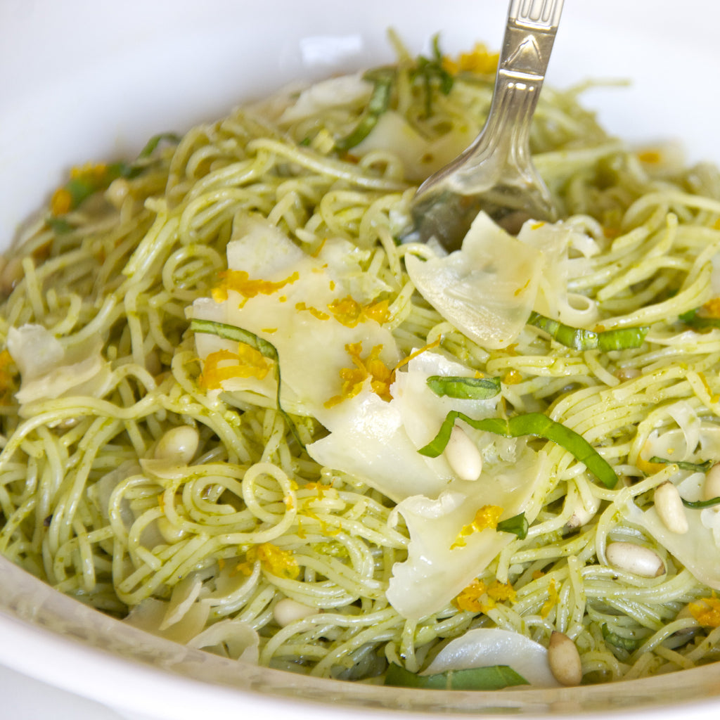 LEMON BASIL ANGEL HAIR PASTA (Meyer Lemon Rosemary Marinade & Dressing)