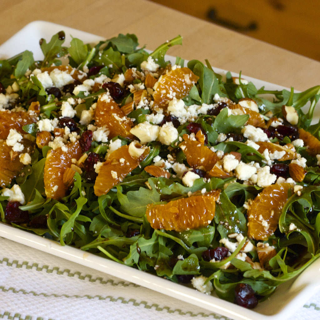 MANDARIN ARUGULA SALAD (Tangerine Fig Balsamic Finishing Sauce)