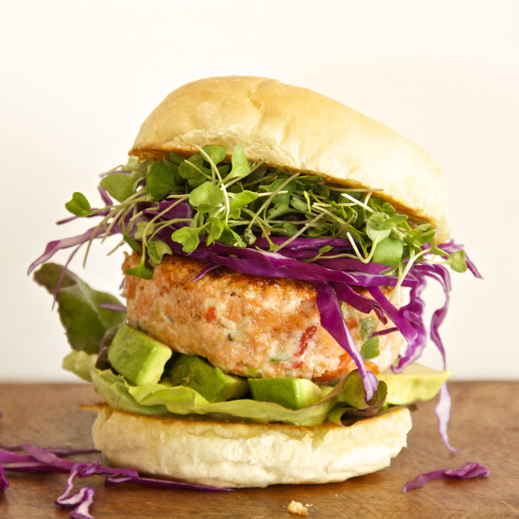 SALMON BURGER AIOLI (Pineapple Sake Teriyaki Marinade)
