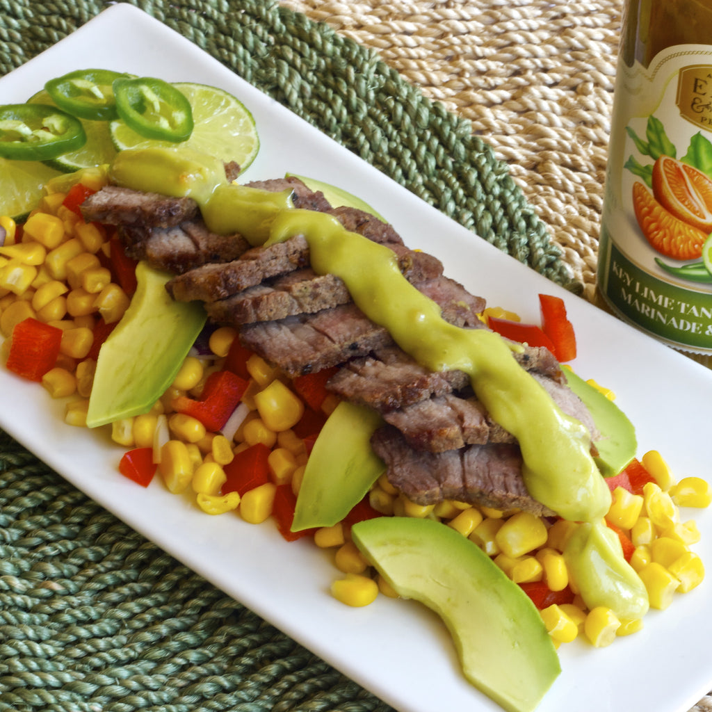 TRI TIP & CORN WITH SPICY AVOCADO DRESSING (Key Lime Tangerine Chili Marinade & Dressing)