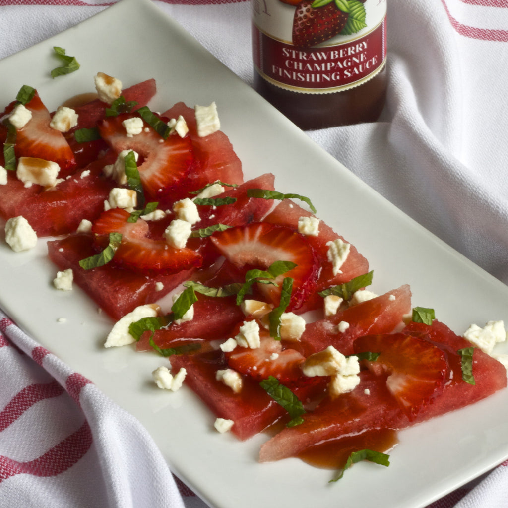 STRAWBERRY WATERMELON FETA SALAD (Strawberry Champagne Finishing Sauce)