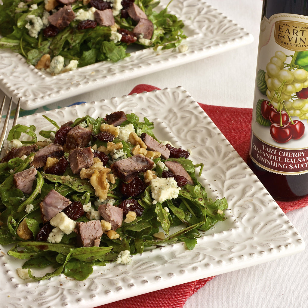 STEAK BLUE CHEESE CHERRY SALAD (Tart Cherry Zinfandel Balsamic Finishing Sauce)