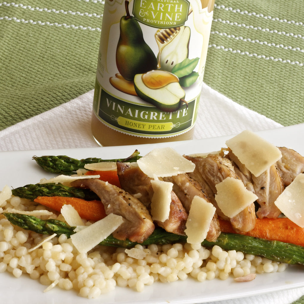COUSCOUS ASPARAGUS CHICKEN (Honey Pear Vinaigrette)