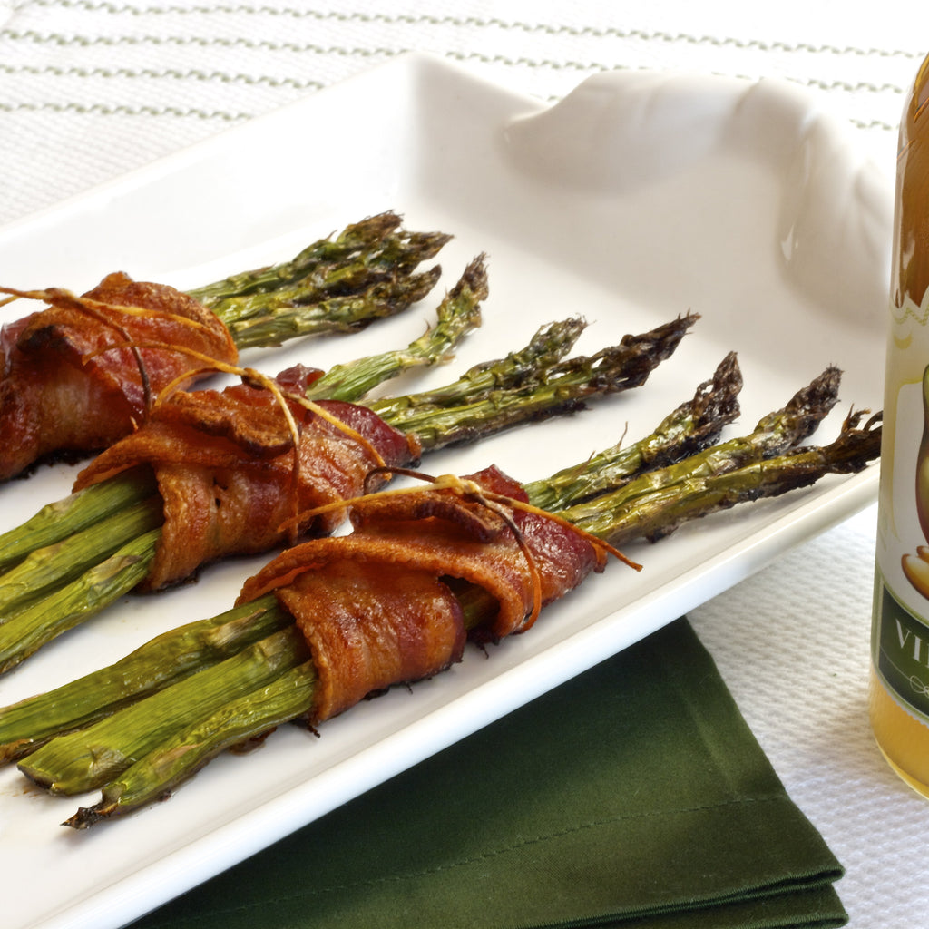 BACON WRAPPED ASPARAGUS (Honey Pear Vinaigrette)