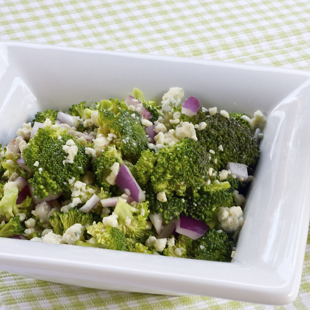 BROCCOLI BLUE CHEESE SALAD (Honey Pear Vinaigrette)