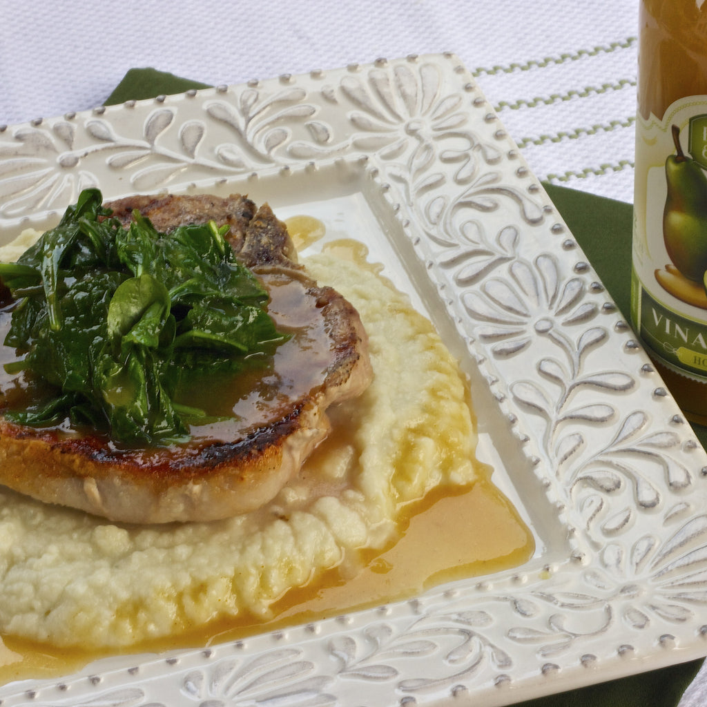 PORK CHOPS, BLUE CHEESE MASHED POTATOES & SPINACH (Honey Pear Vinaigrette)