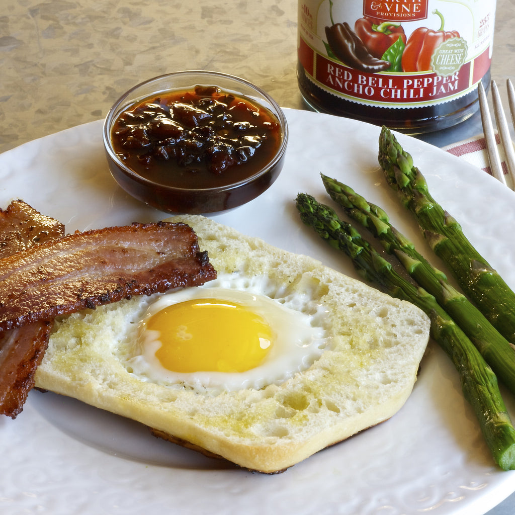 BACON, EGG & ASPARAGUS (Red Bell Pepper Ancho Chili Jam)