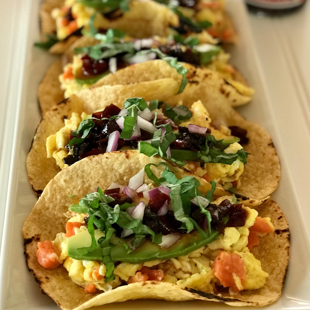 EGG & SMOKED SALMON TACOS