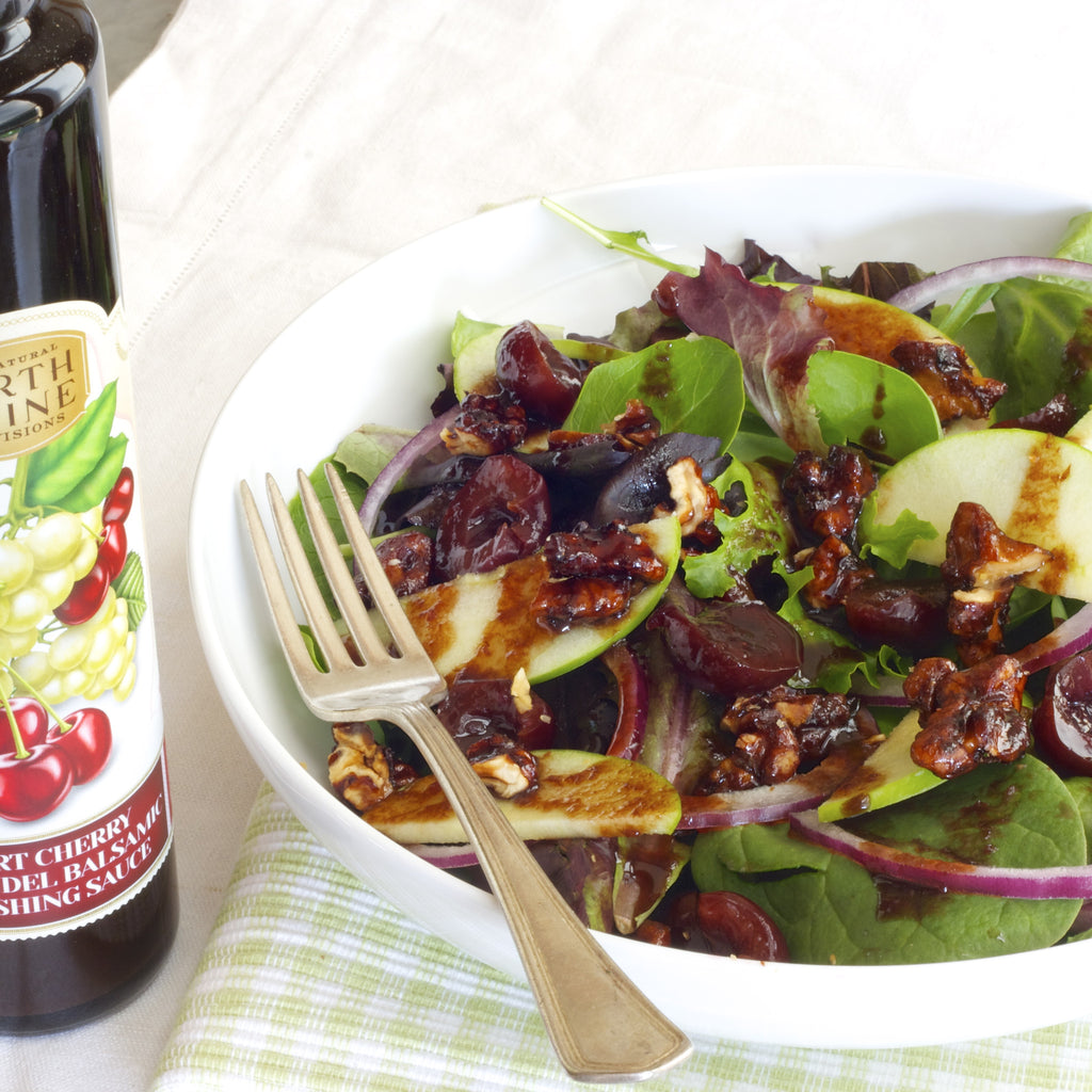 APPLE CHERRY WALNUT SALAD (Tart Cherry Zinfandel Balsamic Finishing Sauce)