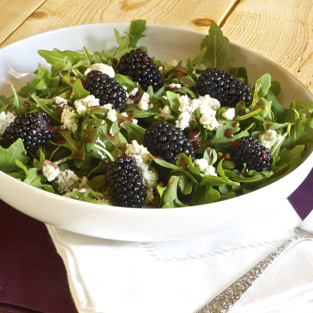 BLACKBERRY ARUGULA SALAD (Tart Cherry Zinfandel Balsamic Finishing Sauce)