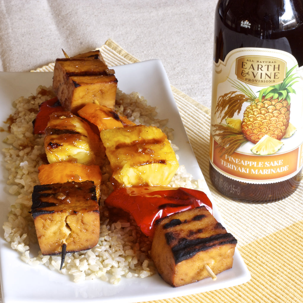 TOFU PINEAPPLE KABOBS (Pineapple Sake Teriyaki Marinade)