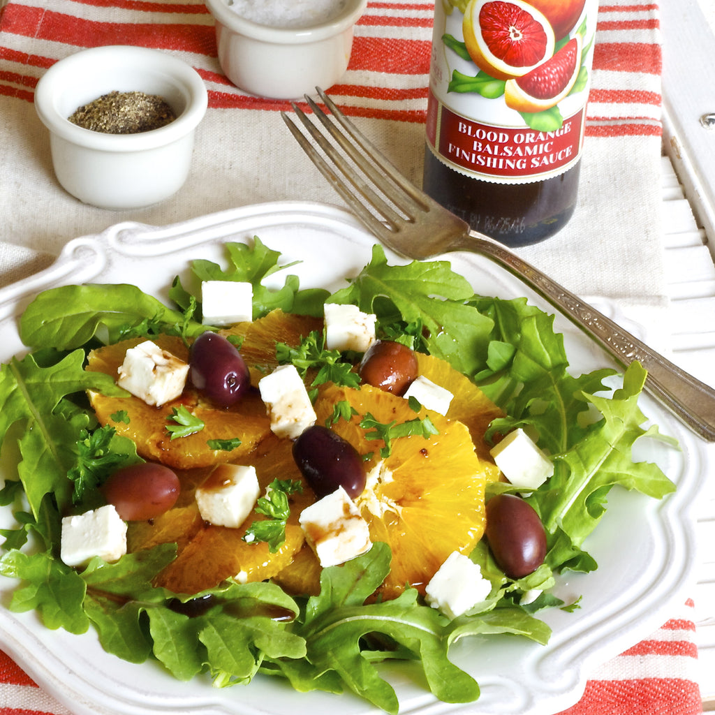 Orange, Arugula & Feta Salad (Blood Orange Balsamic Finishing Sauce)
